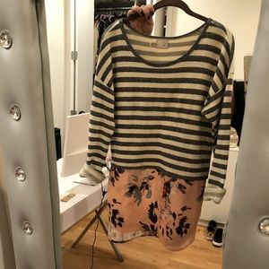 Anthropologie striped floral sweater